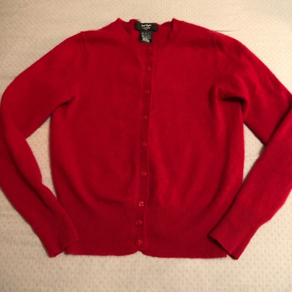 Lord & Taylor ruby red cashmere cardigan (XS)